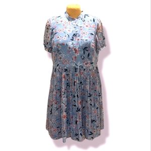 Liza Luxe 2X Blue Floral Pleated Button Front Puff Sleeve Dress